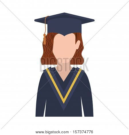 half body woman with graduation outfit and redhair vector illustration