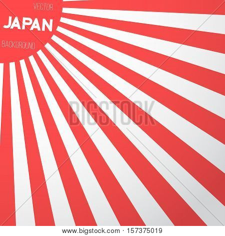 Illustration of Japan Flag Vector Background. Retro Style Japan Flag Sunburst Effect Vector Background. Red and White Lines Template