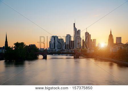 Frankfurt am main urban skyline with skyscrapers building at night in Frankfurt Germany
