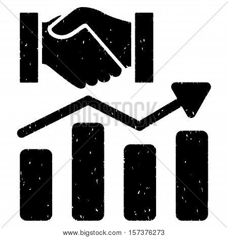 Acquisition Hands Graph Trend grainy textured icon for overlay watermark stamps. Flat symbol with scratched texture. Dotted vector black ink rubber seal stamp with grunge design on a white background.