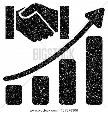 Acquisition Hands Growth Chart grainy textured icon for overlay watermark stamps. Flat symbol with dust texture. Dotted vector black ink rubber seal stamp with grunge design on a white background.