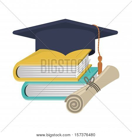 silhouette graduation cap with certificate and books vector illustration