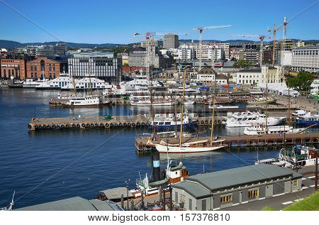 OSLO NORWAY - AUGUST 17 2016: View of panorama on Oslo Harbour from Akershus fortress in Oslo Norway on August 17 2016.