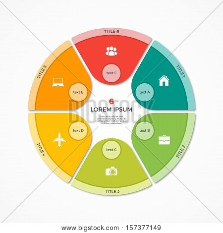Vector Pie Chart Circle Infographic Template With 6 Options