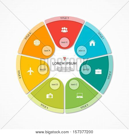 Vector pie chart circle infographic template with 7 options