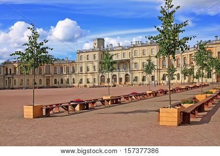 Gatchina Russia - 11 July 2016: Great Gatchina Palace was built in 1766-1781 in Gatchina town (near St. Petersburg) by Antonio Rinaldi for Count Grigori Orlov who was a favourite of Catherine II.