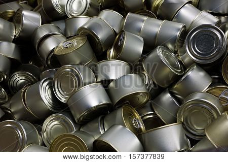 Heap of ready-to-eat canned fish close up