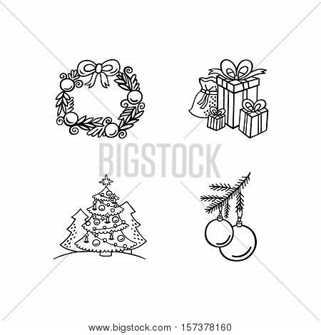Christmas objects. Vector set of cute isolated fur tree, gifts in boxes with ribbons, holiday wreath and glass balls on a branch. Black and white christmas icons for winter design