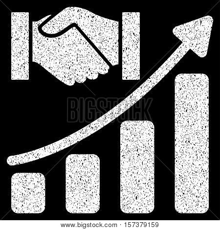 Acquisition Hands Growth Chart grainy textured icon for overlay watermark stamps. Flat symbol with dirty texture. Dotted vector white ink rubber seal stamp with grunge design on a black background.