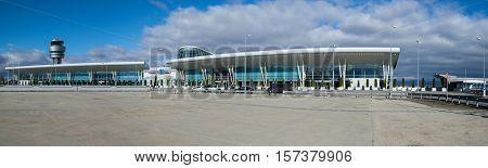 SOFIA,BULGARIA - NOVEMBER 2016: Panorama of Sofia International Airport in Sofia, Bulgaria on November 13, 2016