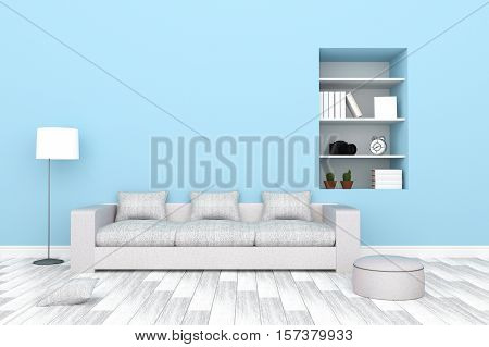 3D Rendering : Illustration Of Modern Living-room Interior With White Sofa Furniture Against Blue Pa