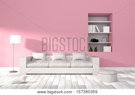 3D Rendering : Illustration Of Modern Living-room Interior With White Sofa Furniture Against Pink Pa