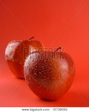 Red apples close-up. healthy lifestyle. dietetic food