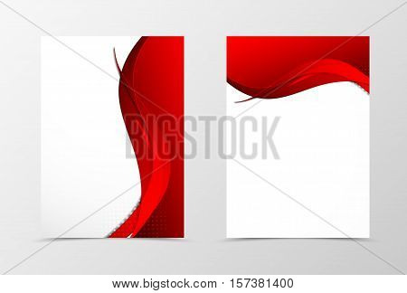 Front and back wave flyer template design. Abstract template with red lines and halftone effect in material design style. Vector illustration