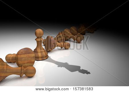 3D Rendering : Illustration Of Chess Pieces.the Wooden Pawn Chess And Shadow Of King At The Center W