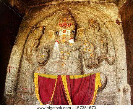 Lord Ganesha at entrance of Shivagange temple taken on November 11, 2016 at Dabaspet near Tumkur, Karnataka, India