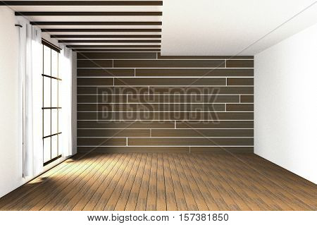 3D Rendering : Illustration Of Large Spacious Room.natural Sun Light From Glass Windows.empty Room I
