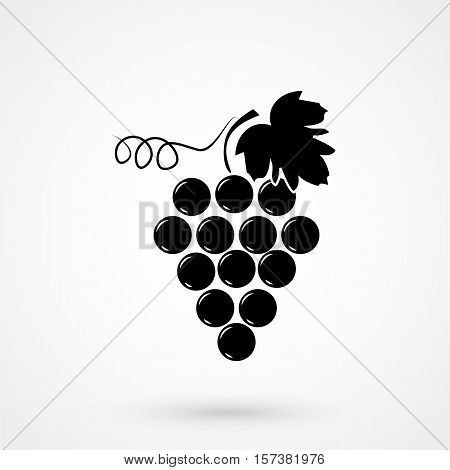 Bunch Of Grapes With Leaf Flat Icon For Food Apps And Websites
