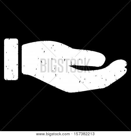 Petition Hand grainy textured icon for overlay watermark stamps. Flat symbol with dust texture. Dotted vector white ink rubber seal stamp with grunge design on a black background.