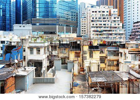 Old Buildings Coexist With Modern Skyscrapers In Hong Kong