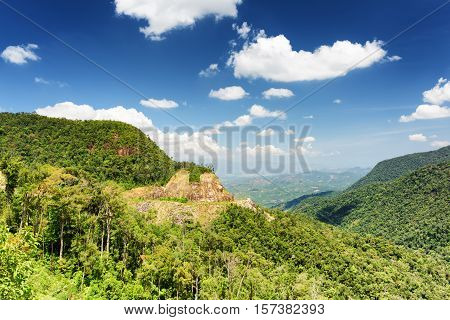 Beautiful View Of The Mountains And The Valley Around Da Lat City (dalat) On The Blue Sky Background