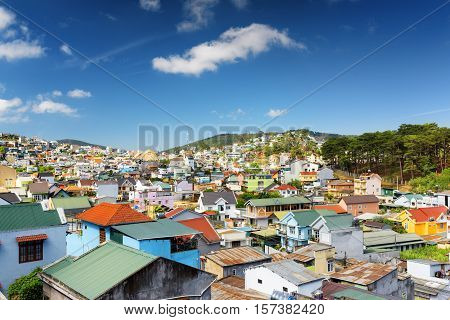 Beautiful Colorful Houses Of Da Lat City (dalat) On The Blue Sky Background In Vietnam