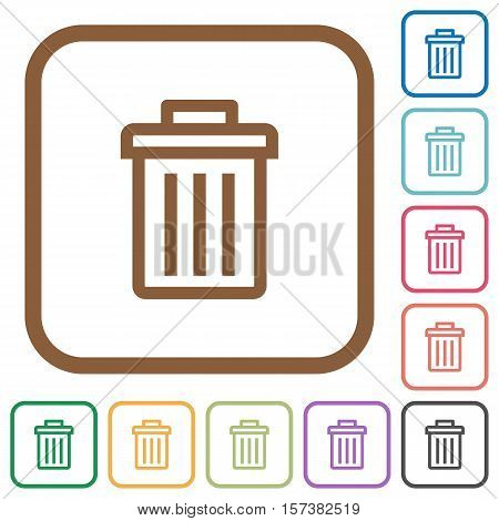 Delete simple icons in color rounded square frames on white background