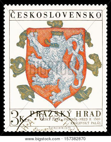 CZECHOSLOVAKIA - CIRCA 1972 : Cancelled postage stamp printed by Czechoslovakia, that shows Coat of arms.