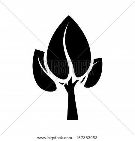 black color tree trunk with leaves shape heart to the reverse vector illustration