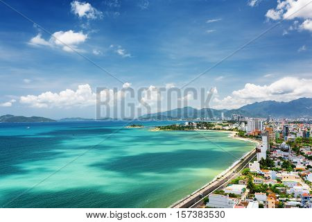 View Of Nha Trang Bay With Beautiful Colors Of Water In Vietnam