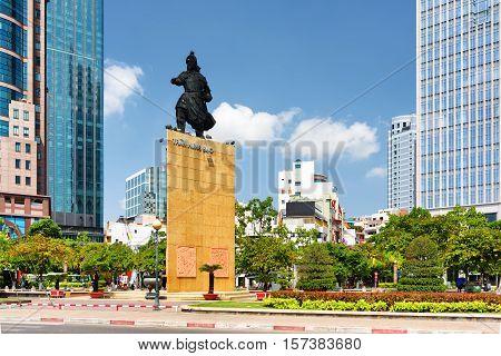 Tran Hung Dao Statue In Ho Chi Minh City, Vietnam