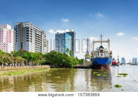Ships On Saigon River In Territory Of Ba Son Shipyard, Vietnam
