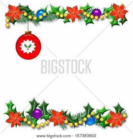 Christmas season holly frame with ornament illustration