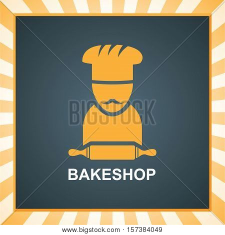 striped background with emblem of the bakery