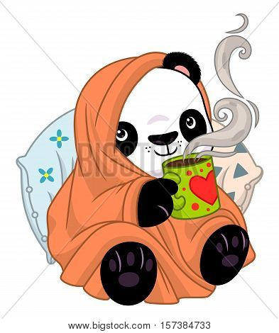 Panda in a cozy blanket with tea.