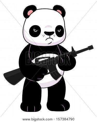 Cute cartoon panda with a riffle. Vector illustration.