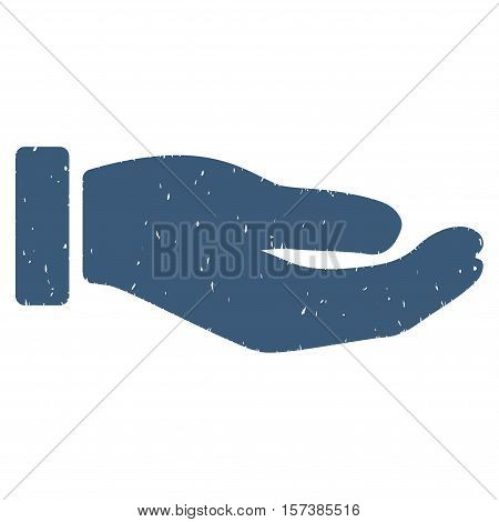 Petition Hand grainy textured icon for overlay watermark stamps. Flat symbol with dirty texture. Dotted vector blue ink rubber seal stamp with grunge design on a white background.