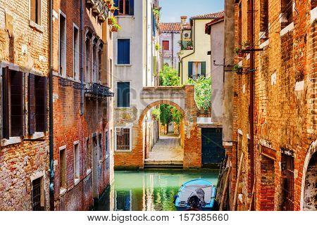 Scenic View Of The Rio Terra Secondo Canal In Venice, Italy