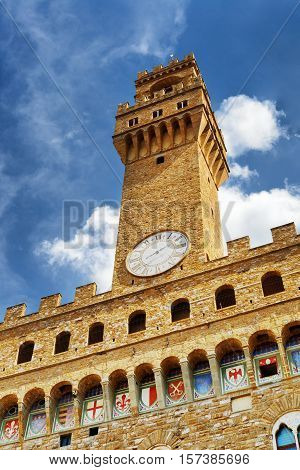 Bell Tower And Clock Of The Palazzo Vecchio In Florence, Italy