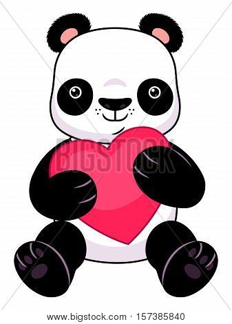 Cute cartoon panda holding heart on the white background.