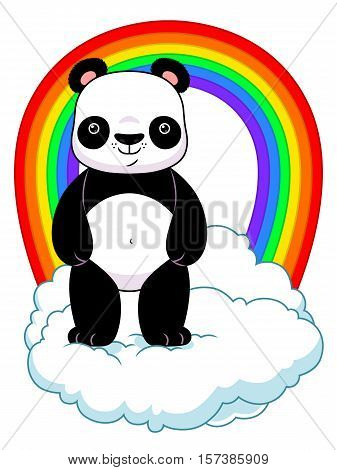 Cartoon panda standing on the cloud with rainbow. Vector illustration.
