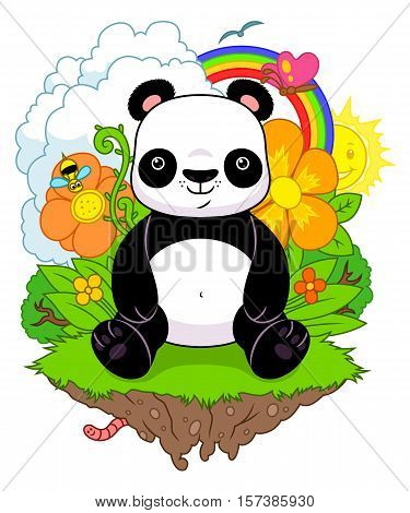 Cartoon panda sitting on the cute nature background.