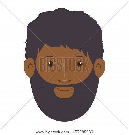 colorful arabic man head without turban and beard vector illustration