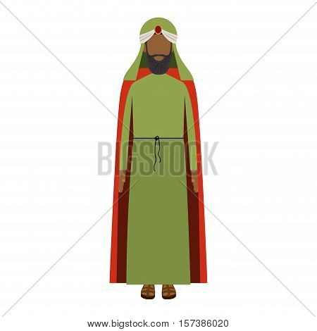 colorful arabic man with turban and beard without a face vector illustration