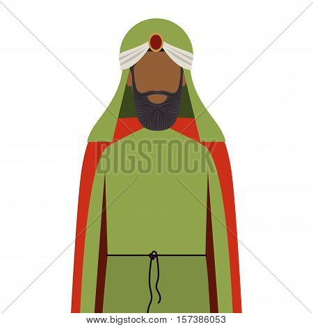 colorful arabic man half body with turban and beard without a face vector illustration