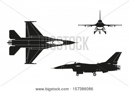 Black silhouette of military aircraft on white background. Top side front views. Vector illustration