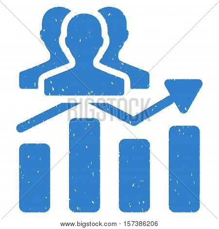 Audience Chart Trend grainy textured icon for overlay watermark stamps. Flat symbol with unclean texture. Dotted vector cobalt ink rubber seal stamp with grunge design on a white background.