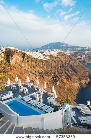 Santorini, Greece - October 17, 2015: Imerovigli, panorama on the Fira village seen from the caldera pathway