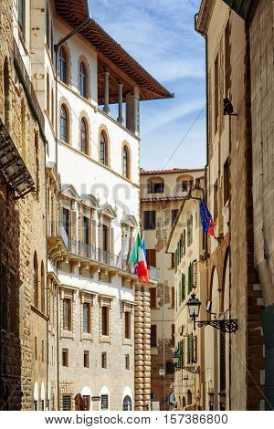 The Via Della Ninna Street (lullaby Street) In Florence, Italy