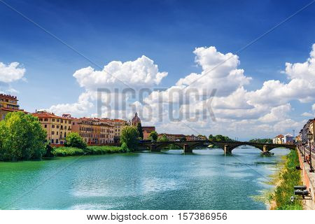 The Ponte Alla Carraia Over The Arno River In Florence, Italy